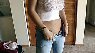 Jeans and  No Panties topless Nikki