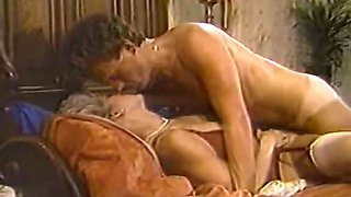 Blonde madam in red lingerie gets banged missionary style with passion
