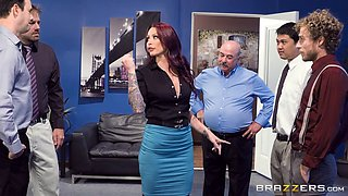 Kinky tattooed red head loves fucking office guys