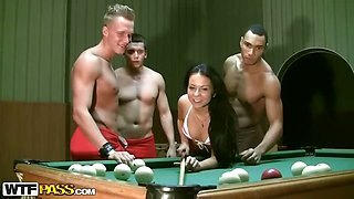 Hard foursome on a billiards table