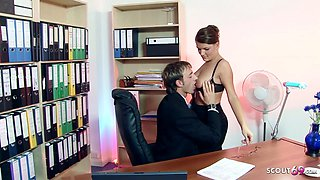 Big natural Tits Secretary with Glasses Rough Fuck in Office