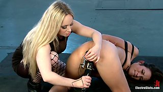 Hot and raw strap-on fucking. Lezdom electrosex. Girl on Girl fisting