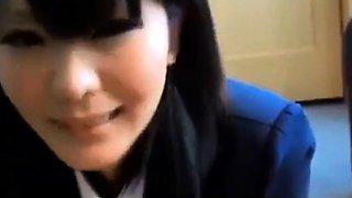 Japanese schoolgirl in uniform blowjob swallowing cum