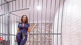 Gorgeous babe August Ames as the police officer uses her power over you to force you to fuck her