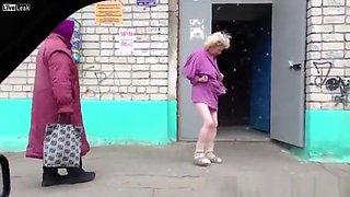 Older drunk woman shows ass and tits