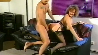 Busty all natural classic blondie banged hard on the couch