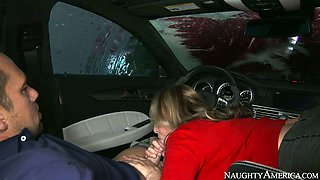 Nasty mommy Julia Ann gives blowjob to Johnny Castle by the car