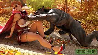 Little red riding hood fucked hard by a monster werewolf. 3d