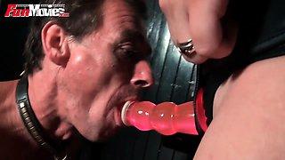 Mistress loves pegging her male amateur slave