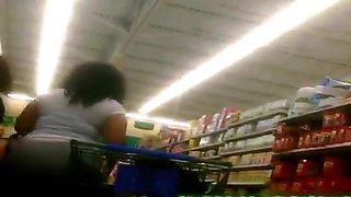 Candid BBW Black Plump Ass Shopping