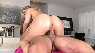 Blonde with a big ass is getting her sexy pussy lips licked