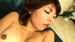 Asian babe is all alone circle rubbing her clit