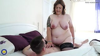 Big mom wakes up and fucks lucky young son