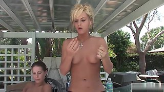 Hot Babes Relax Naked By The Pool