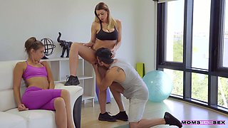 Busty fitness instructor Brooklyn Chase fucks pretty girl and her boyfriend