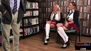 Uniformed british voyeurs watch teacher tug in his office