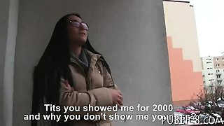 Eurobabe with glasses sucks off and banged by stranger