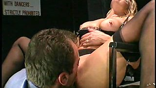 A very pretty retro blonde successfully rides the guy's erected boner