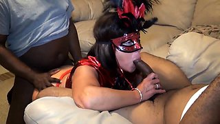 Masked wife cuckolds her husband with hung black studs