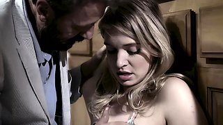 Hot busty teen banged by a dad's best friend in a kitchen