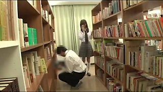 horny asian schoolgirl can't help but to get creampied in library