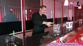 Brunette german 18yo teen during bukkake gangbang party in bar with big facial cumshots