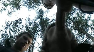 Titted blonde couple fucked in the woods