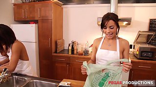 Hardcore porn star group sex in the kitchen with Shana Lane
