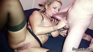 German Mother seduce to Fuck by 26cm Huge Dick Step Son