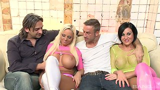 Sexually charged harlot Alexandra Cat and her crazy GF are fucked by two dudes