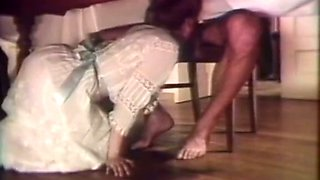 Redhead vintage white lady blows dick under the table