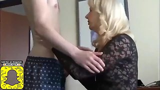 Shy skinny boy cums inside his first busty mature milf