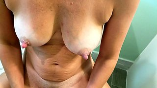 Lustful amateur milf with big natural boobs rides a sex toy