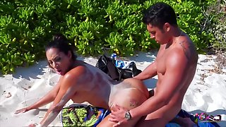 Curvaceous Chick Likes To Have Sex On The Beach With Her Handsome Lover, Once In A While