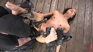 Tied up and restrained ebony chick Alexis Tae gets her pussy punished