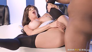 Prince Yashua And Alexis Fawx In Busty Cougar Spits On Huge Black Dong And Jerks It Off