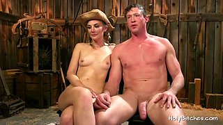 Horny cowgirl tying up her slave