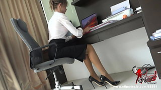 Cumming in my secretary's shoe
