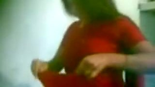 Hot Aunty In Red Saree Boobs Pressed