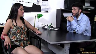 Watch an aggressive boss takes advantage of his secretary and fucks her in the office