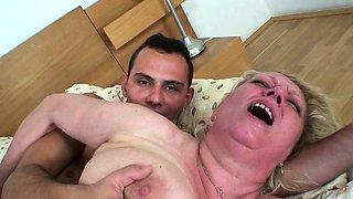 He picks up and fucks big boobs grandma