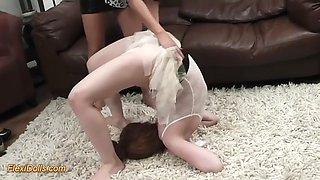 nasty brunette makes obedient ballerina diana make acrobatic stunts