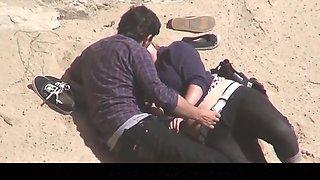 Estrangeiro - Hidden Cam Couple, plump woman sex in beach