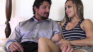Ebony stepdaughter cockriding in taboo duo