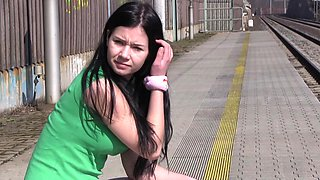 Public flashing teen babe Jaqueline D masturbates and strips outdoors