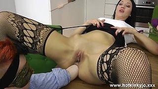 Hotkinkyjo secretary elbow deep fisting and belly bulge