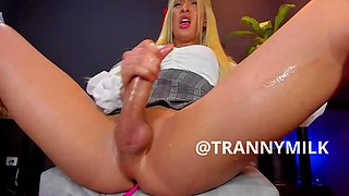 Super hung blonde strokes out two loads of delicious milk in one minute. Amazing!