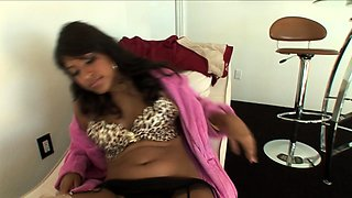 Busty Indian girl with a marvelous ass fucks a black stick
