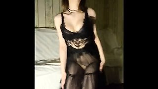 Sensual young babe in lingerie sucks and fucks a huge dick