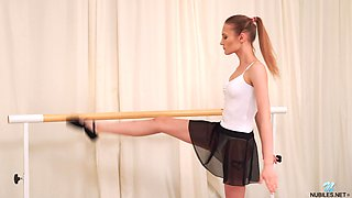 Pretty ballerina Olivia Westsun gets naked and masturbates pussy